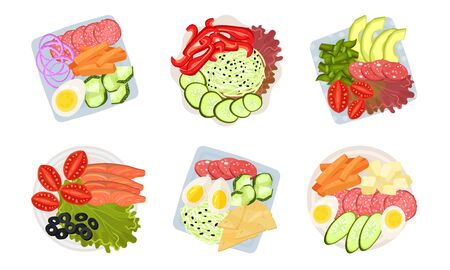 Sliced and Cut Vegetables, Meat and Cheese Served on Plate Above View Vector Set. Organic Nutrition and Appetizing Snacks Concept