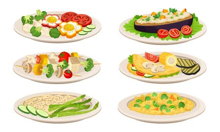 Vegan Dishes and Main Courses with Skewered Vegetables and Stuffed Eggplant Vector Set