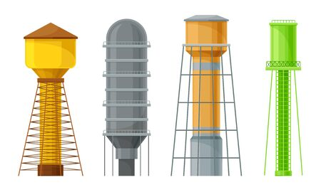 Water Towers or Tank Houses Made of Metal Vector Set