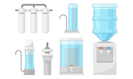 Portable Water Filters or Water Purifiers for Making Liquid Accessible for Drinking Vector Set Vettoriali