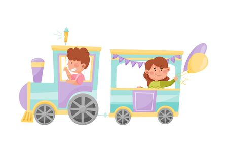 Cheerful Kids Riding Toy Train or Having Fairground Ride Vector Illustration