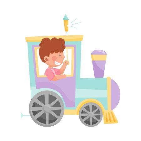 Cheerful Boy Riding Toy Train or Having Fairground Ride Vector Illustration Illustration