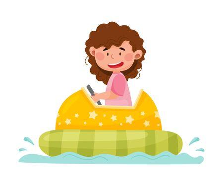 Smiling Little Girl Having Fairground Ride on Water Vector Illustration