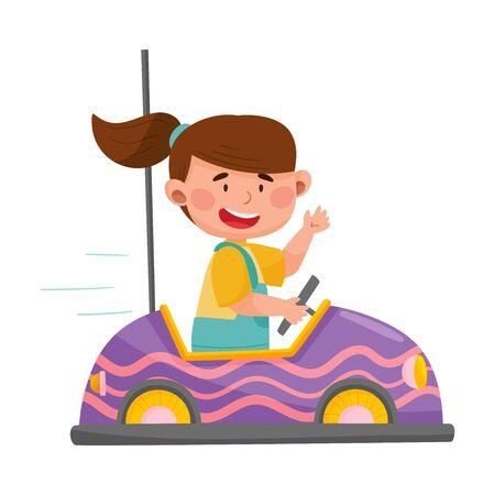 Smiling Girl Driving Toy Car or Having Fairground Ride Vector Illustration