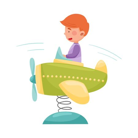 Red Haired Boy Having Fairground Ride and Laughing Vector Illustration Illustration