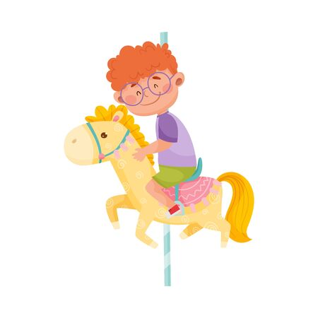 Little Boy with Red Hair Riding Horse or Having Fairground Ride Vector Illustration Illustration