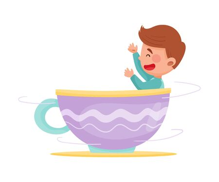 Cute Boy Having Fairground Ride in Large Cup Vector Illustration