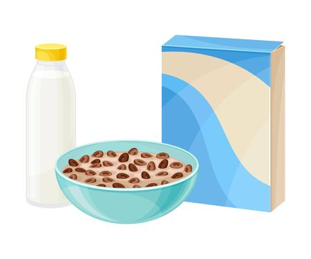Bowl of Chocolate Crispy Cereal or Muesli with Bottle of Milk Rested Nearby Vector Composition. Sweet Multigrain Proteinic Morning Meal