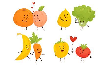 Happy Fruits and Vegetables Holding Hands and Kissing Vector Set