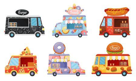 Street Food Vans Selling Sweet Doughnuts and Burgers Vector Set Illustration