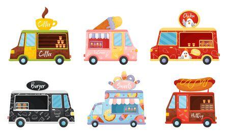 Street Food Vans Selling Coffee and Ice Cream Vector Set