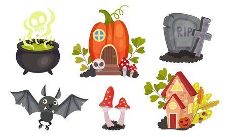 Sinister Halloween Holiday Symbols with Cauldron and Gravestone Vector Set Иллюстрация