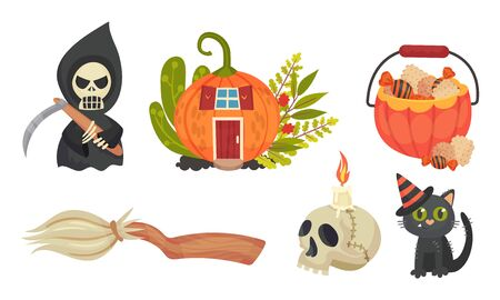 Sinister Halloween Holiday Symbols with Broom and Skull Vector Set