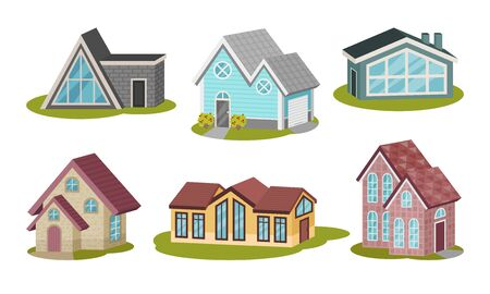 Private Houses and Cottages on Green Lawn Isolated on White Background Vector Set