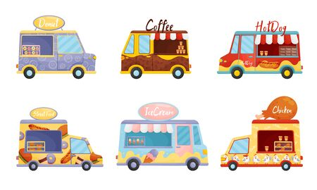 Street Food Vans Selling Sweet Doughnuts and Coffee Vector Set. Fastfood Relocatable Snack Bar Concept Illustration