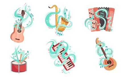 Musical Stringed and Wind Instruments with Decorative Swirling Lines Vector Set. Classical Acoustic Equipment for Orchestra  イラスト・ベクター素材