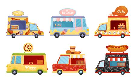 Street Food Vans Selling Pizza and Burgers Vector Set. Fastfood Relocatable Snack Bar Concept Illustration