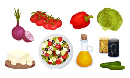 Greek Salad Fresh and Raw Ingredients with Olive Oil and Vegetables Vector Set. Organic Vegetarian Nutrition Preparation Concept