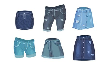 Denim Blue Clothing Items as Womenswear with Denim Skirt and Knee Breeches Vector Set. Trendy Garment Made of Sturdy Cotton Textile