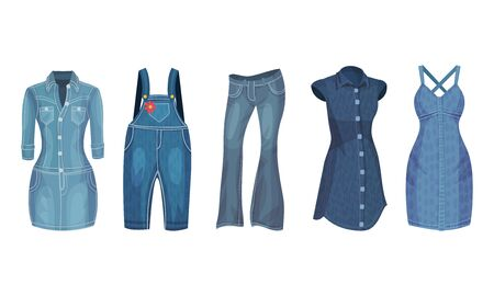 Denim Blue Clothing Items as Womenswear with Denim Dress and Overall Vector Set Çizim
