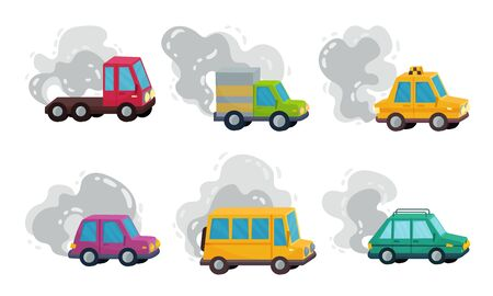 Cars on the Road Throwing Out Smoke Vector Set