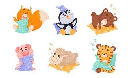 Cute Cartoon Animals Sleeping on Pillow and Yawning Vector Set