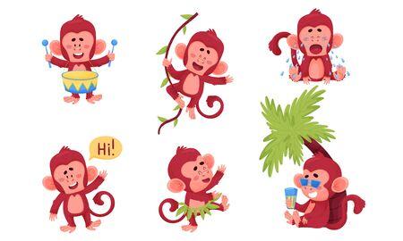 Funny Cartoon Monkey Dancing and Playing Drum Vector Set Иллюстрация