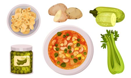 Ingredients for Appetizing Vegetable Minestrone Vector Set