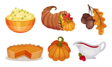 Thanksgiving Holiday Symbols and Attributes with Pumpkin Pie and Porridge Vector Set. Traditional Autumn Celebration Concept Vectores