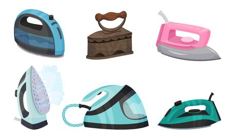 Irons as Electric Household Appliance for Steaming Clothes Set  イラスト・ベクター素材