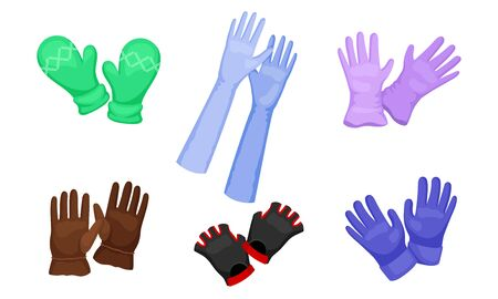 Different Gloves and Mittens as Hand wear for Winter and Autumn Season Set Иллюстрация