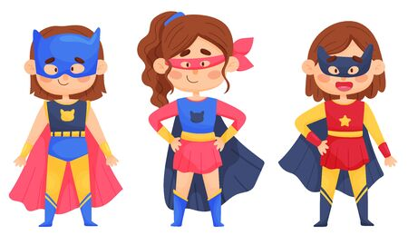 Smiling Girl Character in Superhero Costume and Cloak Standing Ready to Save the World Illustrations Set Vettoriali