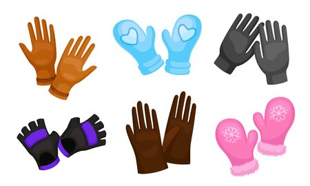 Different Gloves and Mittens as Hand wear for Winter and Autumn Season Set