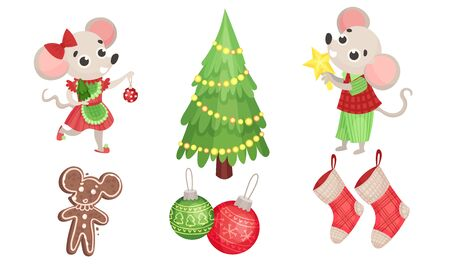 New Year Attributes with Mouse Character and Fir Tree Vector Set Vectores