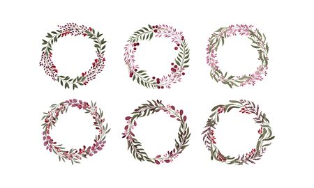 Floral Wreaths with Leafy Berry Twigs and Flower Branches Vector Set