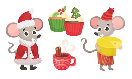 New Year Attributes with Mouse Characters Wearing Warm Clothing and Hot Tea Pouring in Cup Vector Set Vektoros illusztráció