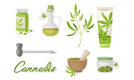 Cannabis Plant as Organic Medicines and Nutrition Ingredient with Oil Glass Jar Set