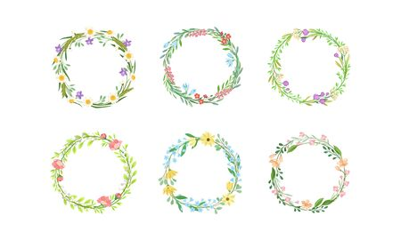 Floral Wreaths with Leafy Tree Branches and Blooming Summer Flowers Vector Set