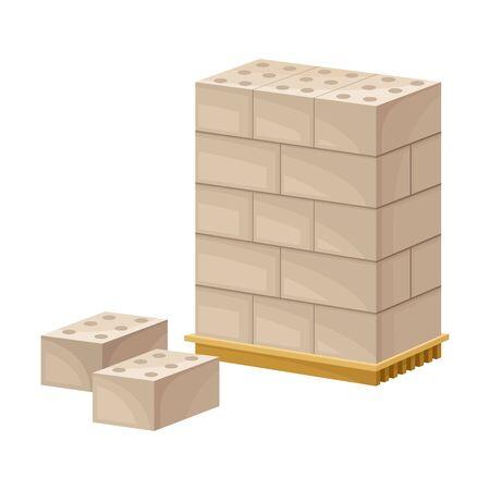Pile of Bricks Rested on Pallet for Transportation on Site Vector Illustration