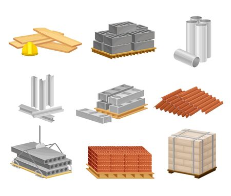 Building and Construction Materials Like Sand and Bricks Vector Set