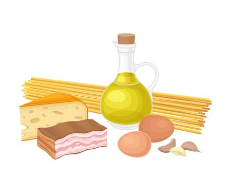 Ingredients for Pasta Carbonara Cooking with Jar of Olive Oil and Bacon Slab Vector Illustration