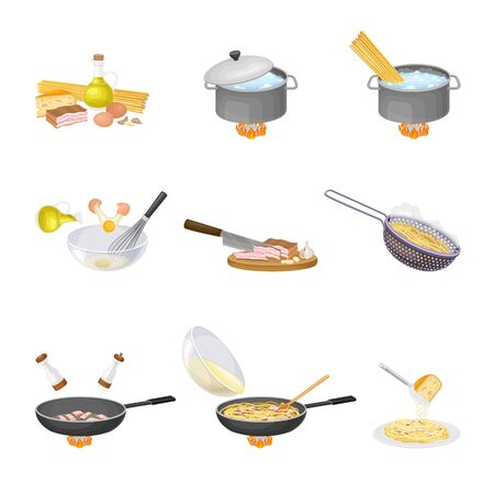 Cooking Tasty Pasta Carbonara Steps with Boiling in Saucepan and Dressing with Cheese Vector Set