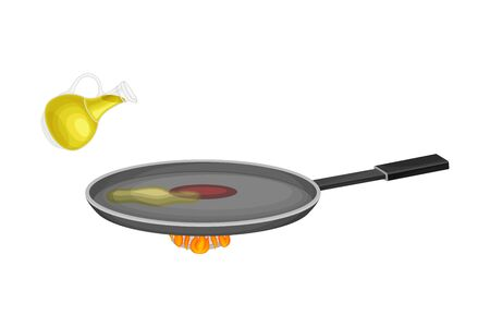 Frying Pan on Burner with Heating Oil for Pancake Cooking Vector Illustration