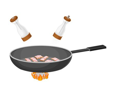 Bacon Slices in Frying Pan on Burner as Ingredient for Cooking Pasta Carbonara Vector Illustration