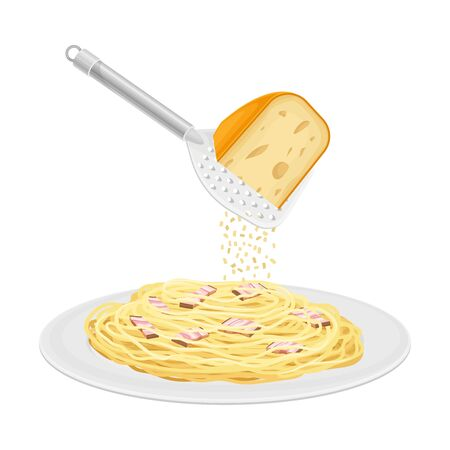 Cooked Pasta Carbonara with Bacon Slices Served on Plate and Cheese Dressing Vector Illustration
