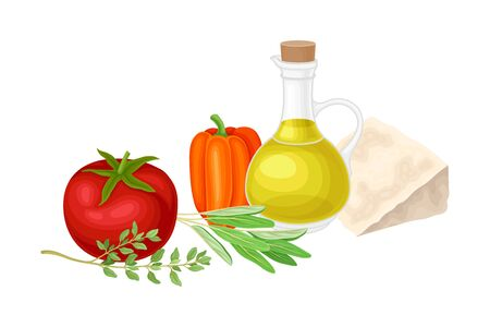 Ingredients for Bruschetta Preparation with Kitchen Herbs and Vegetables Vector Illustration