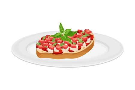 Bruschetta with Tomato and Cheese Garnished with Kitchen Herb Vector Illustration Stock Illustratie