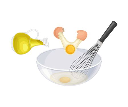 Bowl with Whisking Eggs and Oil for Cooking Pasta Carbonara Vector Illustration