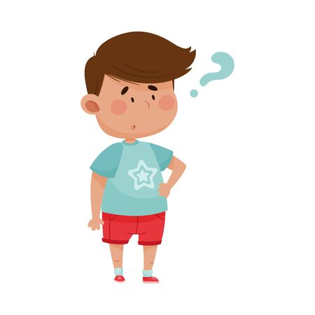 Dark Haired Boy Wearing Red Shorts Showing Puzzled Expression on His Face Vector Illustration
