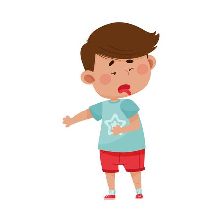 Dark Haired Boy Wearing Red Shorts Looking Away in Disgust Showing Disgusted Expression on His Face Vector Illustration